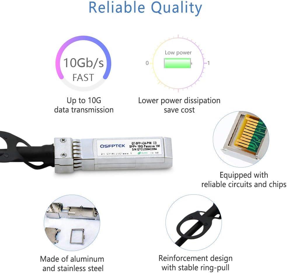 Mikrotik QSFPTEK 10G SFP+ DAC Cable Netgear Passive Direct Attach Copper Twinax Cable for Cisco SFP-H10GB-CU3M D-Link 10ft Open Switch Devices Ubiquiti 3m