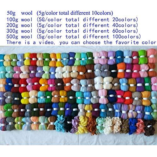 Maslin Merino Fiber Combed 100% Wool roving for neddle Felting DIY Make Doll and Animals Wool 50g 100g 200g 300g 500g 1000g - (Color: 300g)