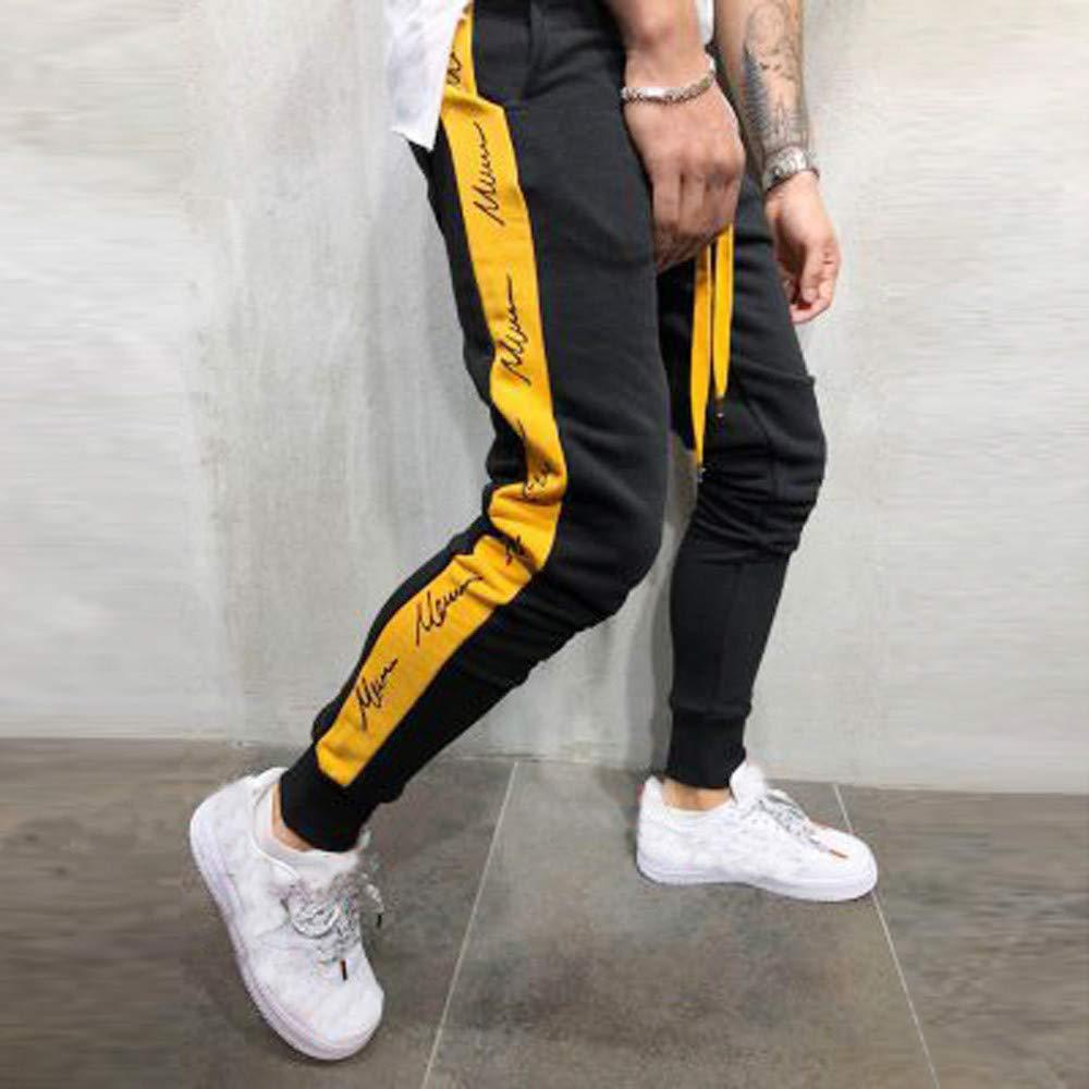 Pantal/ón Deportivo Hombre SUNNSEAN S/ólido Estampado Letras Patchwork Casual Suave Deportes Yoga Fitness Leggings Drawstring Sweatpants Pantalones Largos