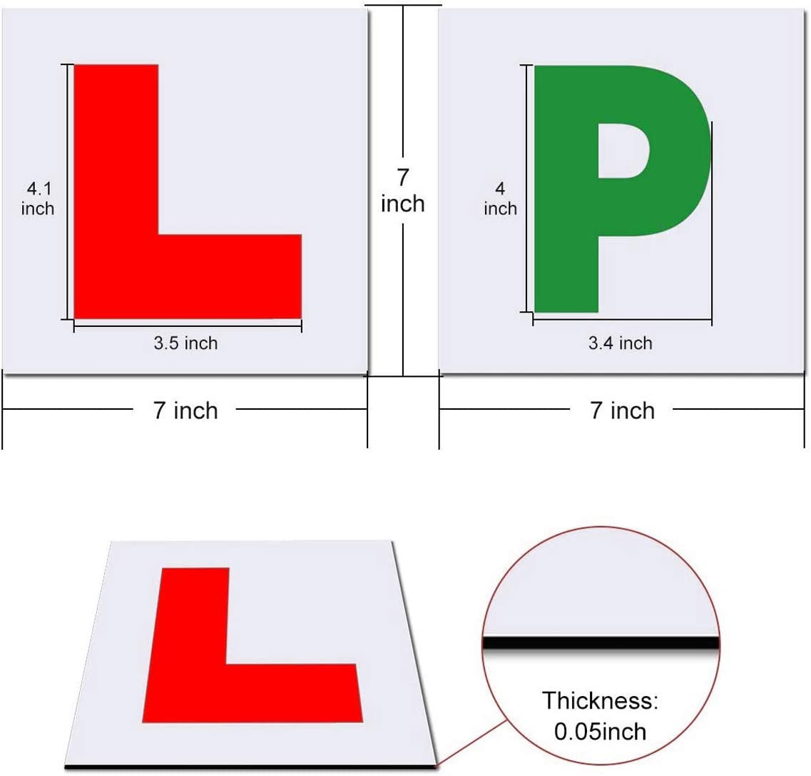 Onarway Fully Magnetic Red Car L-Plates and Green P Plate 4 Pack for car magnetic Extra Thick Strong Learner Plates No Melting No Blow off Easy to Move without Scratching Painting off