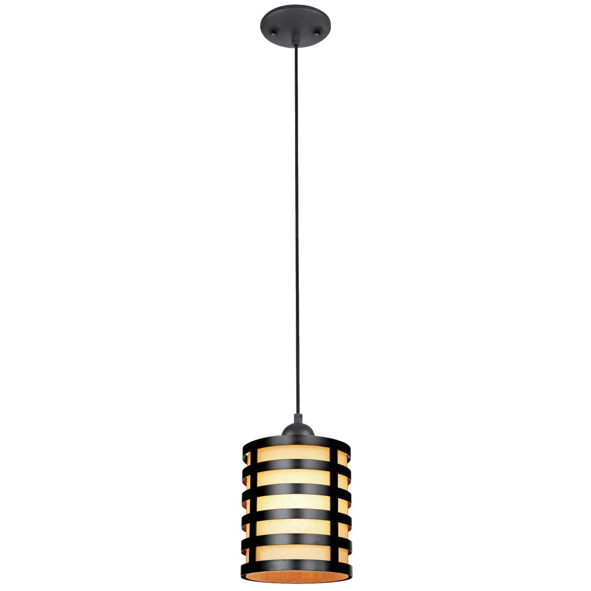 Westinghouse 6000400 Casual One-Light Adjustable Mini Pendant with Oil Rubbed Bronze and Amber Glass Shade, Oil Rubbed Bronze Finish