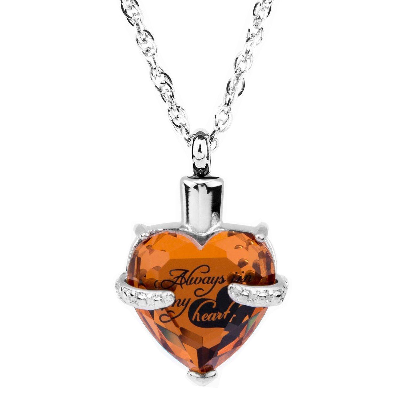 Glass Cremation Jewelry Always in My Heart Birthstone Pendant Urn Necklace Ashes Holder Keepsake by IMEIM (Nov(Topaz))