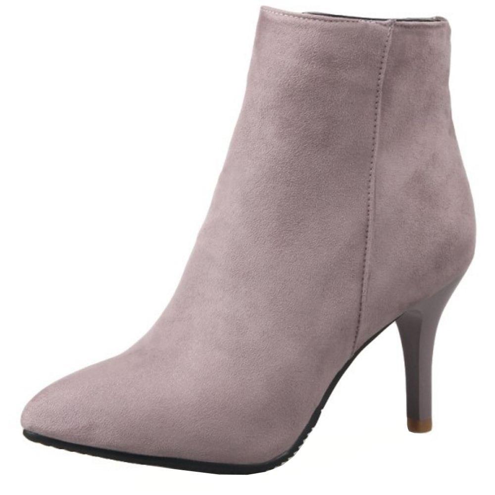 RAZAMAZA Damen Pumps Stiletto Stiefel High Heels Kurzschaft Stiefelette  32 EU|Pink