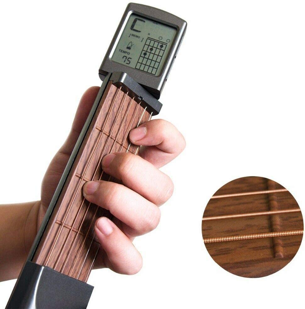 Digital Guitar Chord Trainer, Mini 6 Fret Portable Guitar Neck with Small Screen for Trainer Beginner 61vw2BRvJRJL