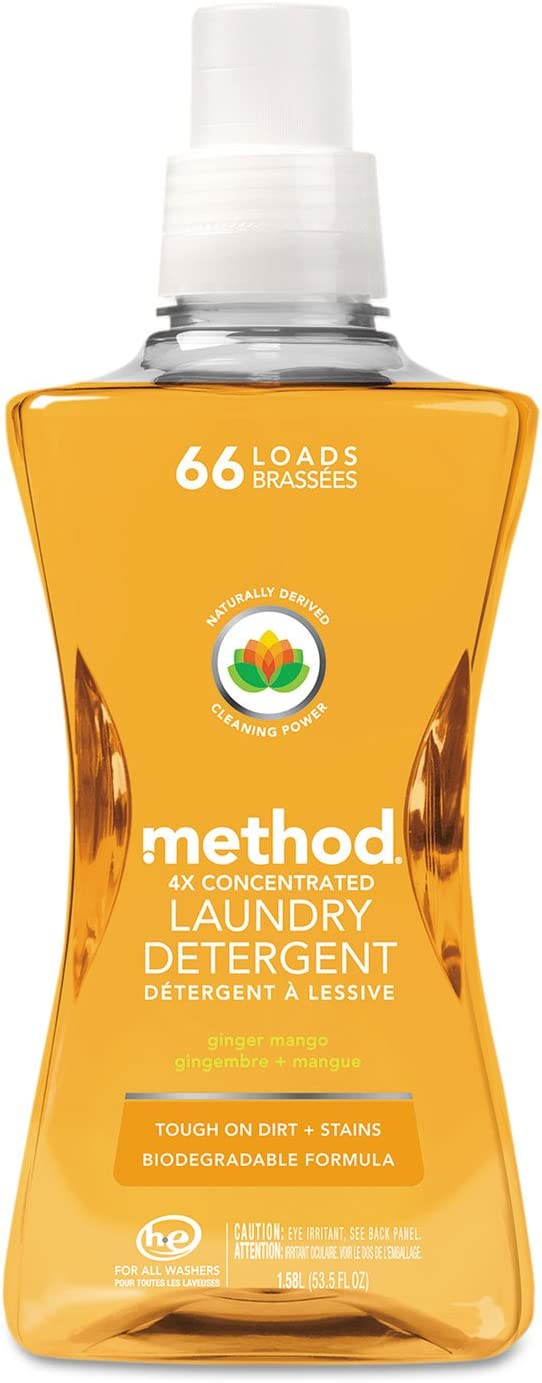 Method Laundry Detergent 4x Concentrated, Ginger Mango, 66 load 53.5 oz