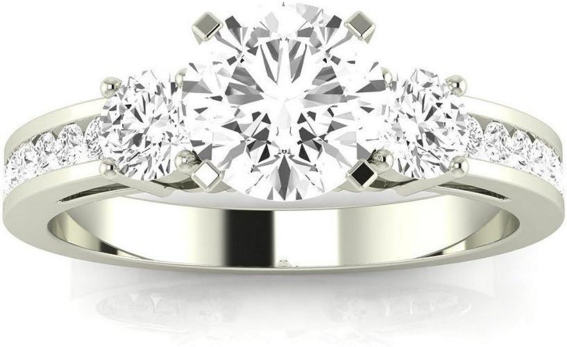 14k Solid Yellow Gold Round Diamond Engagement Wedding Ring 1.2 Ct Three Stone