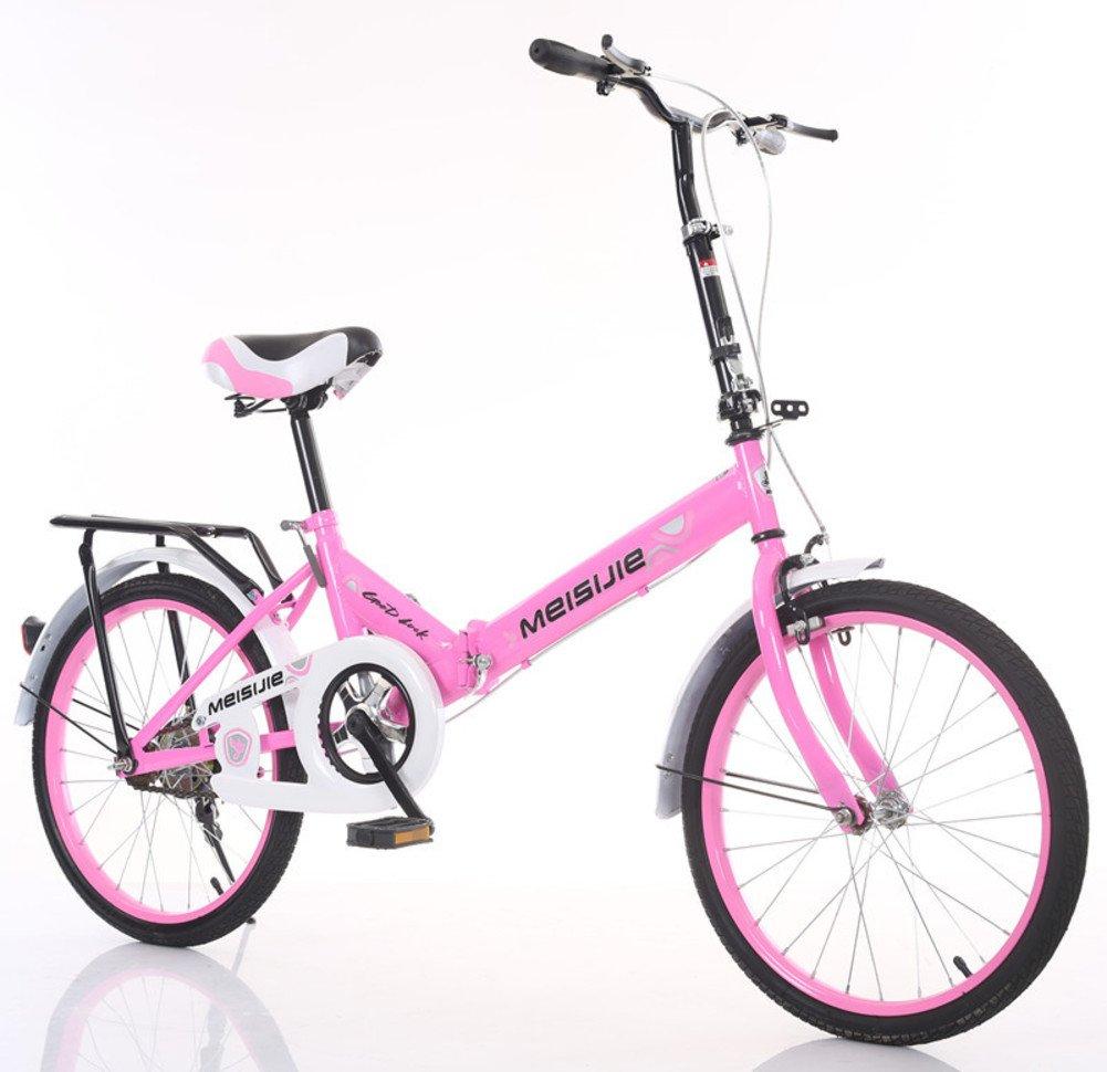 大人 折りたたみ自転車, 学生折りたたみ自転車 光ポータブル 子供たち 男子 レディース 折りたたみ自転車 B07DFFND15ピンク 20inch