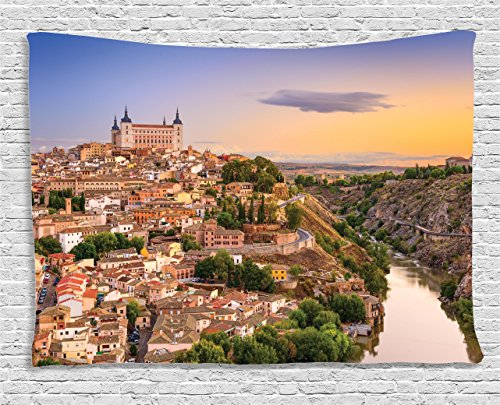 Ambesonne Wanderlust Decor Collection, Toledo, Spain Old City Over The Tagus River Downtown Castle Architectural Ancient, Bedroom Living Room Dorm Wall Hanging Tapestry, 80W X 60L Inch by Ambesonne