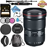 Canon EF 16-35mm f/2.8L III USM Lens 0573C002 + 82mm 3 Piece Filter Kit + 64GB SDXC Card + Lens Pen Cleaner + Fibercloth + Lens Capkeeper + Deluxe 70 Monopod + Deluxe Cleaning Kit Bundle
