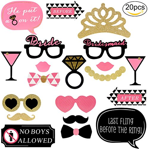 Yaafee 20pcs Photo Props DIY Disguise Props Mini Cardboard Signs for Wedding, Christmas, Birthday, Halloween, Masquerade, Single Party, with Sticks, Mustache, Hats, Glasses, Lips, (Halloween Backdrops Uk)