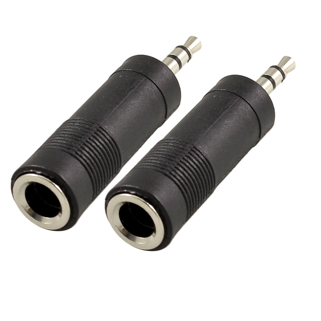 uxcell 3.5mm Male to 6.35mm Female Jack Audio Speaker Cable Connector Adapter 2 Pcs Black