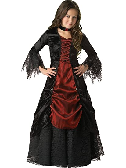 incharacter costumes llc girls 7 16 gothic vampira gown set blackburgundy