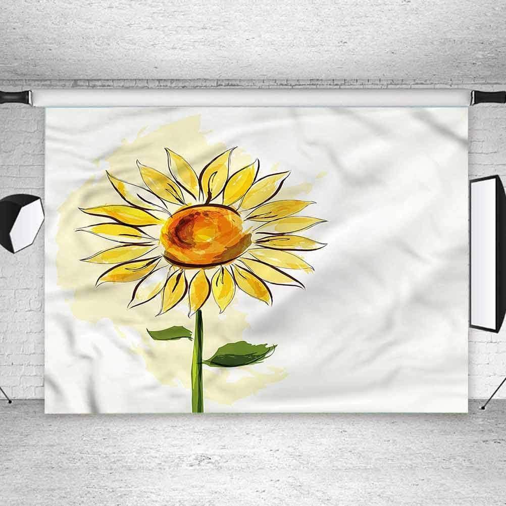 8x8FT Vinyl Photography Backdrop,Flower,Watercolor Style Sunflower Photoshoot Props Photo Background Studio Prop