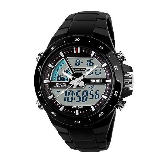 Skmei Casual Fashion Reloj Hombre Analógico Digital Negro Cronómetro Deporte Deportivo Reloj de Pulsara de Marca: Amazon.es: Relojes