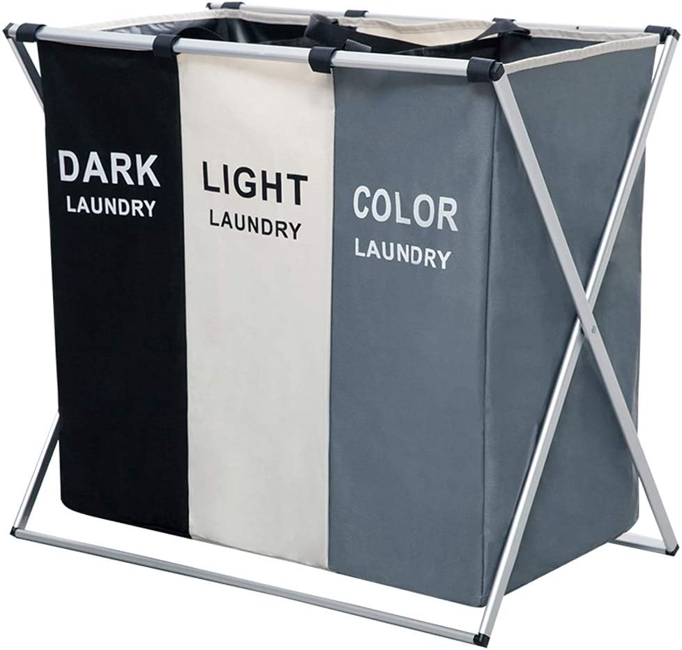 Nicesail 3 Section Laundry Basket Printed Dark Light Color, Foldable Hamper/Sorter with Waterproof Oxford Bags and Aluminum Frame, Washing Clothes Storage for Home, Dormitary