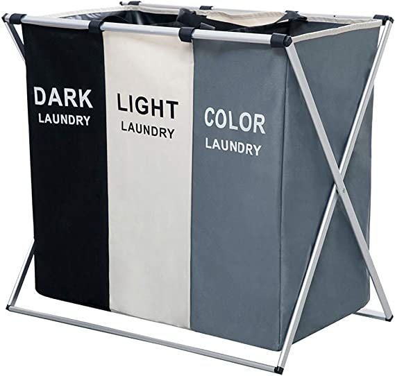 Laundry Clothes Basket Wash Hamper Bin Aluminium Folding 2 3 Section Dark Light