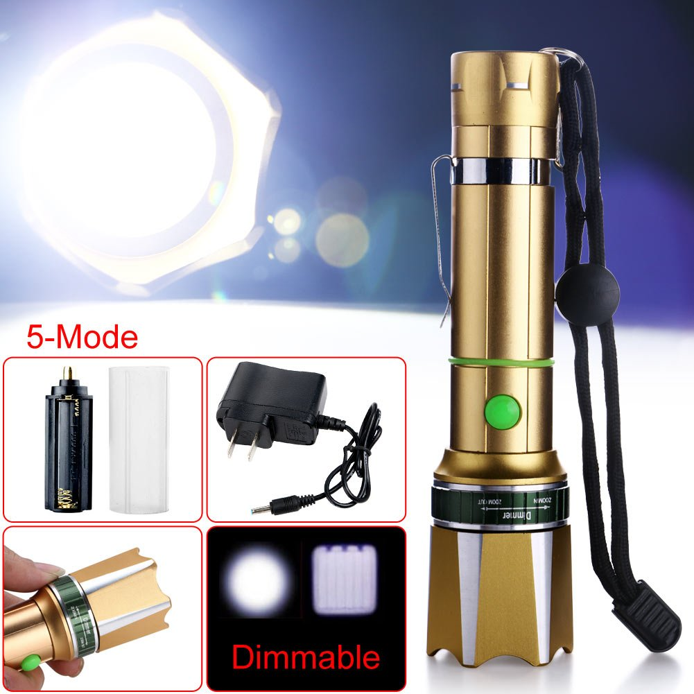 Zlimio Led Flashlight , NEW 3000 Lm T6 LED Zoomable Focus Flashlight Torch Gold with Charger for Camping Biking Home Emergency or Gift-Giving by Zlimio (Image #5)