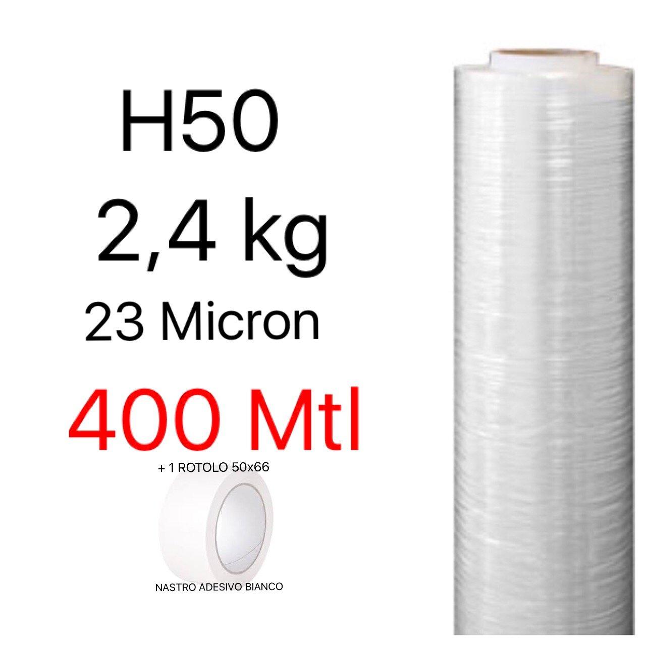 Pellicola Film in Polietilene per Imballo Imballaggi H 50 cm in Rotolo da 400 mtl spessore 23 micron peso 2, 4 kg+NASTRO ADESIVO BIANCO 50x66 NP by PD