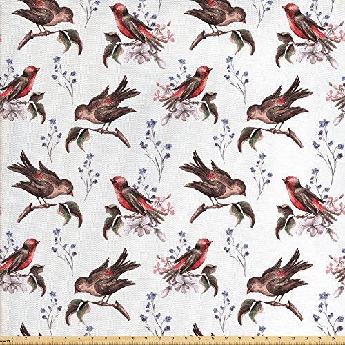 Birds Fabric by the Yard by Lunarable, Vintage Watercolor Effect Sparrows on Tree Branches Botanical Arrangement, Decorative Fabric for Upholstery and Home Accents, Brown Scarlet - Sparrow Scarlet