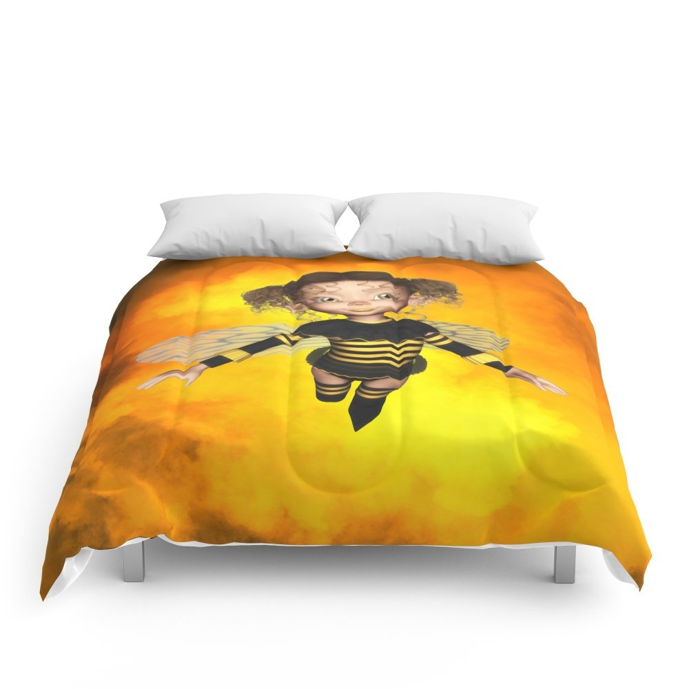 Society6 Little Bee Girl Golden Clouds Comforters King: 104'' x 88''