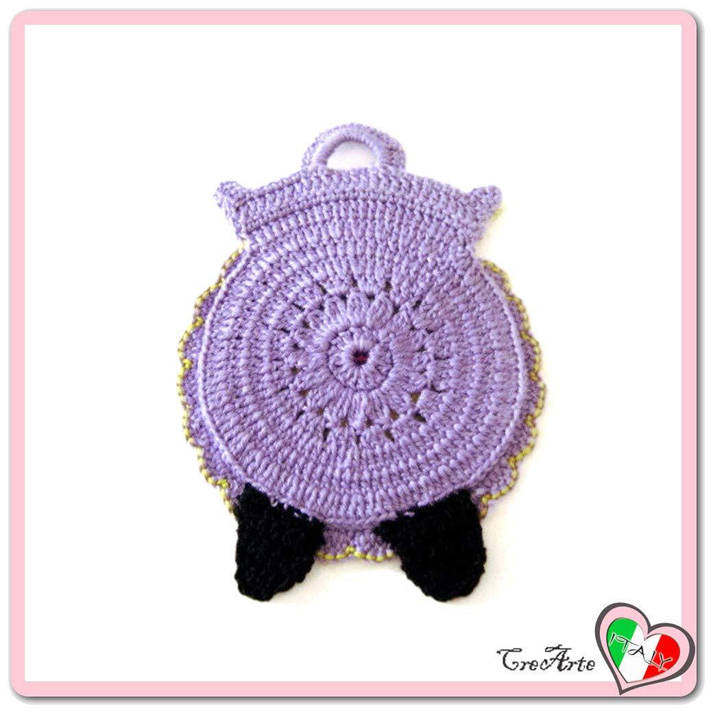 Agarradera lila de ganchillo en forma de búho - Tamaño: 13 ...