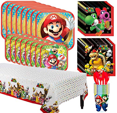 Party City Super Mario Tableware Kit for 8 Guests, 81 Pieces, Includes Plates, Napkins, Table Cover, Utensils, and Cups]()