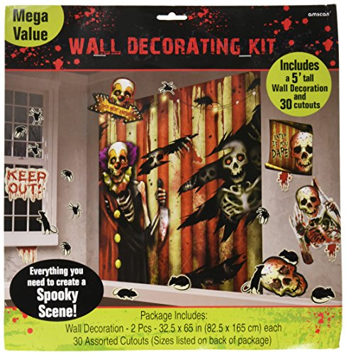 Amscan Creepy Carnival Halloween Trick or Treat Party Scene Setter Mega Value Wall Decorating Kit (pack of 32), Multicolor, 65