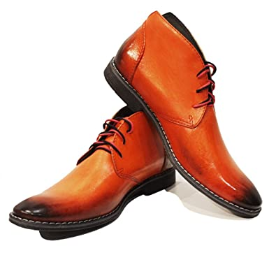 a2ebb78b083 PeppeShoes Modello Orango - 6 US - Handmade Italian Mens Orange Ankle  Chukka Boots - Cowhide