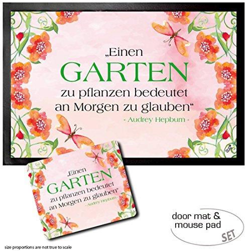 Set: 1 Door Mat Floor Mat (24x16 inches) + 1 Mouse Pad (9x7 inches) - Audrey Hepburn, Einen Garten Zu Pflanzen Bedeutet An Morgen Zu Glauben