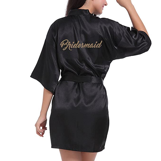 ca1ceee617 Hibote Wedding Bridesmaid Robe Short Kimono Robe Night Robe Bath Robe  Fashion Dressing Gown for Women  Amazon.co.uk  Clothing