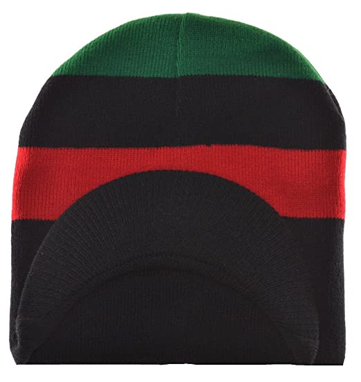 MM Red Black and Green Pan-African Flag Inspired Beanie Cap at ... 64bb6879996