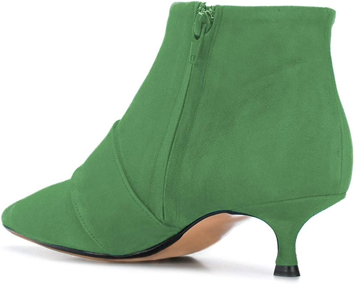 XYD Women Pointed Toe Suede Ankle Boots Kitten Low Heels Slip On Side Zipper Dress Booties with Buckle Size 11 Green