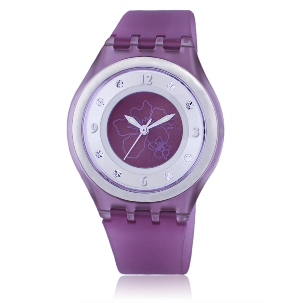 Children's rhinestone analog quartz watch,Jelly simple 50 m waterproof resin strap ultra thin girls or boys fashion wristwatch-K