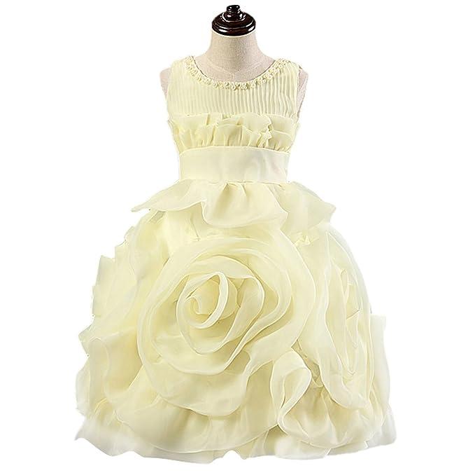 Happy Cherry - Falda de Tul Vestido Princesa Bautizo para Niñas para Boba Fiesta Ceremonia Birthday Party sin Mangas Diseño de Rosa 3D - Amarillo- Talla ES ...