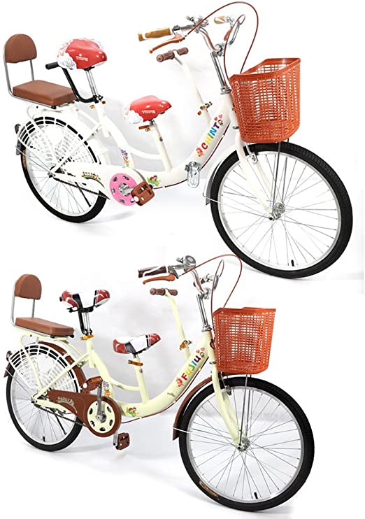 Parenting Folding Carbon Steel Bicycle 7 Speed Tandem Bicycle for Adults and Children OUKANING 20 Folding Bicycle