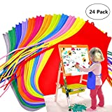Kids Artists Aprons - Children's Rainbow Non-woven Aprons for Classroom, Community Event, Crafts and Art Painting Activity - 24 Pcs 12 Colors