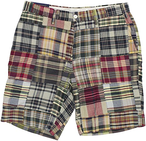 Polo Ralph Lauren Men's Madras Patchwork Classic-Fit Shorts Size 40W Blue Red Multi (Shorts Red Patchwork)