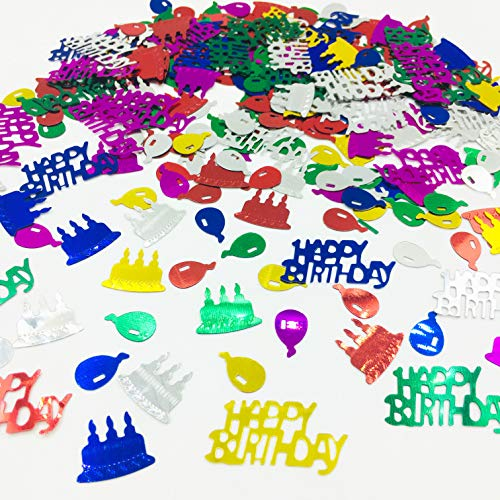 Happy Birthday Confetti Sprinkles Table Scatters for Birthday Party Decoration DIY Arts and Crafting Metallic Foil Confetti-Multi Color 1.5 Ounce/Package -