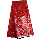 5 Yards 5 Yards African Swiss Voile Lace High Quality French Net Cloth Sequins Best Cotton African Lace Fabric for Women Dress (Red)