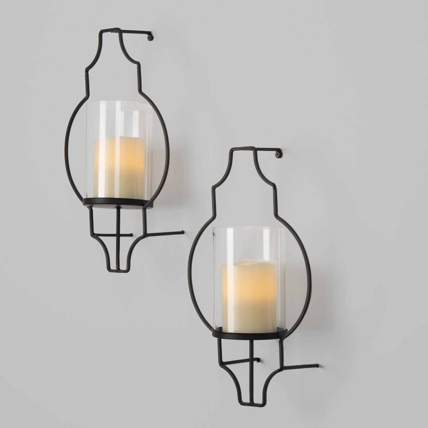 LampLust Flameless Candle Wall Sconces - Glass Hurricane Holders ...