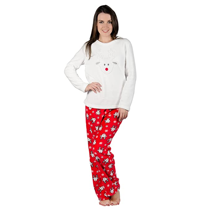 18d67d6416 Ladies Rudolf Reindeer Fleece Pyjama Set PJs Top   Bottoms Christmas  Nightwear S Red