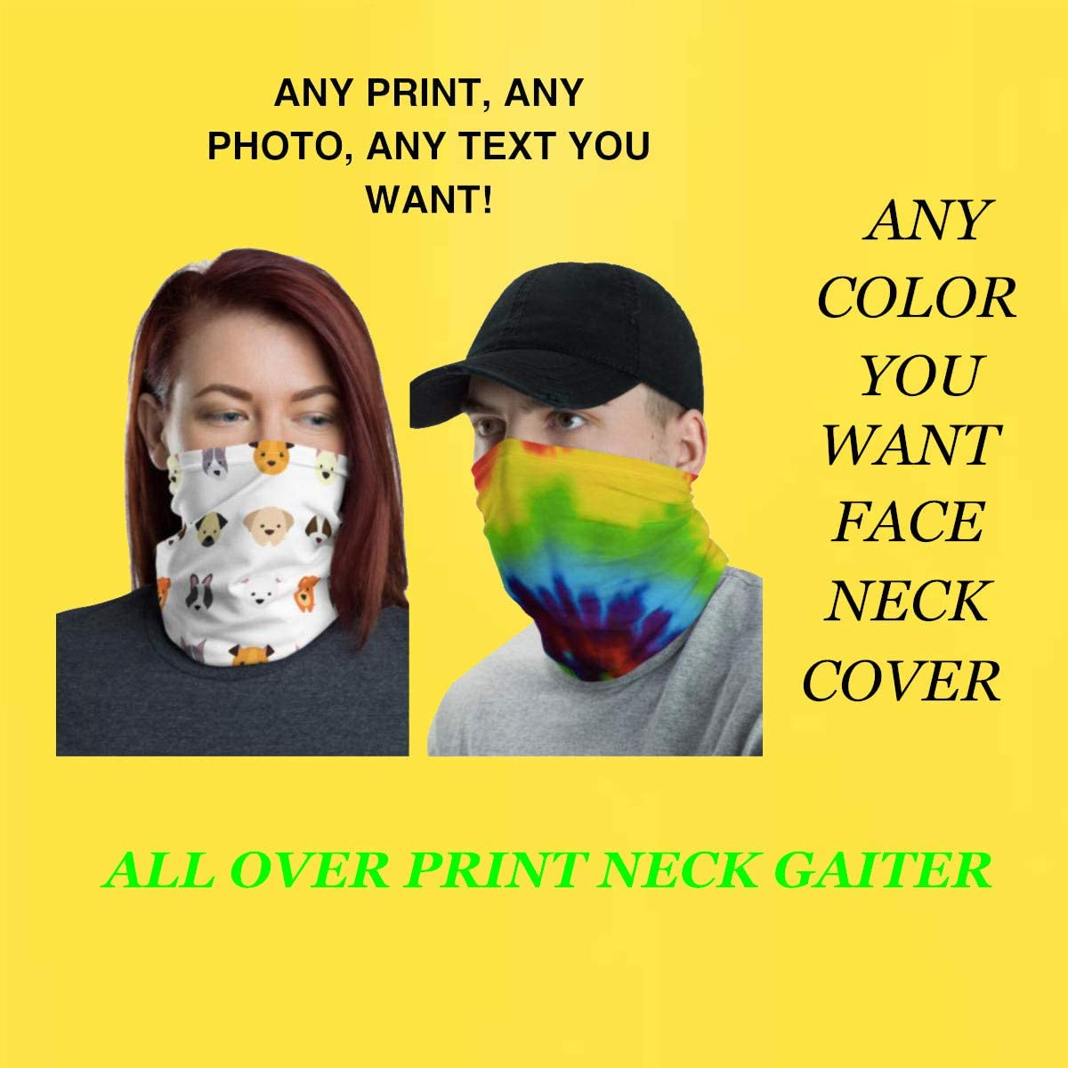 Protection Tube Scarf for Sports,Halloween,Cosplay Timein Custom Face Bandana Mask Full-Color Printed Face Covering