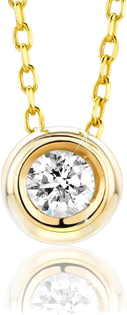 Orovi Collar Señora Solitario con cadena en Oro Amarillo con Diamante Talla Brillante 0.10 ct Oro 9 Kt / 375 Cadena 45 Cm