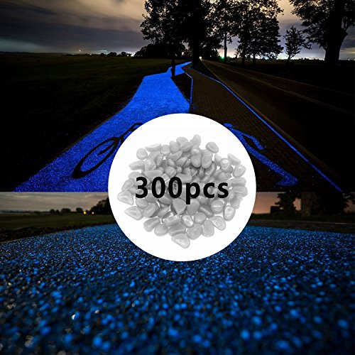 300pcs Glow in the Dark Pebbles for Walkways Décor, Outside Bulk Glow in the Dark Rocks for Outdoor Fairy Garden, Glowing Stones for Driveway, Fish Tank Aquarium Glow Decorations Gravel, White / Blue