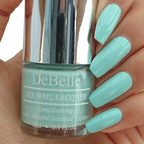 d93064663 Buy DeBelle Gel Nail Lacquer Mint Amour - 8 ml (Mint Blue Nail Polish)  Online at Low Prices in India - Amazon.in