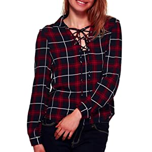 Gillberry Women Lattice Blouse Long Sleeve Bandage Plaid Casual Shirt Tops (S, Red)