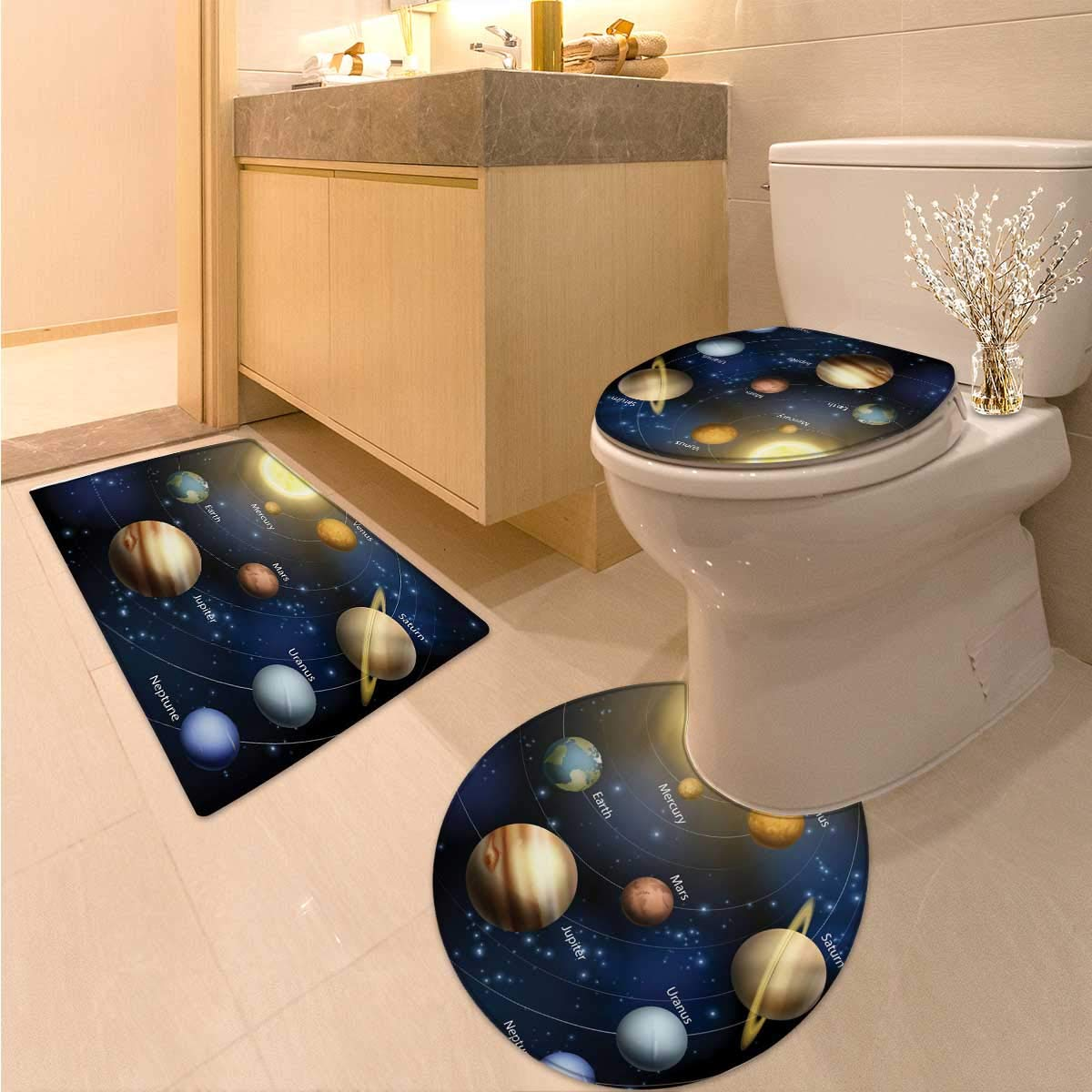 Anhuthree Educational Toilet Carpet Floor mat Set Realistic Illustration of Solar System Sun Planets Orbit Astronomy Outer Space Non Slip Bath Shower Rug Multicolor