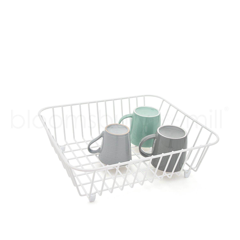 Bloomsbury Mill - Kitchen Sink Basket - Protective Draining Rack - Rust Proof Plastic Coating - White