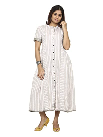 14ea1a9d817 SEX SOUL EXPRESSED Beige Off-White Linen Gathered Tea Length Loose Fitted  Dress(SSXP0 Multi-Coloured x-Large)  Amazon.in  Clothing   Accessories