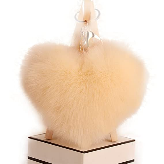 Amazon.com : Qingsun Love Heart Fluffy Keychain Pom Pom Fluffy Key Chain Faux Rabbit Fur Ball key ring Bag Car Pendant(Beige) : Office Products